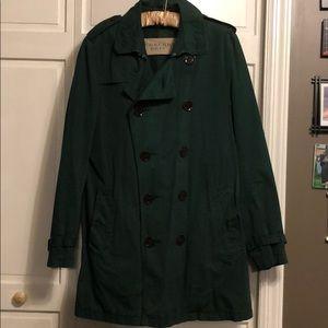 Men's hunter green trench coat